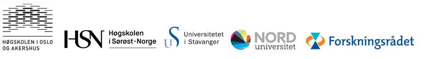 Bilde av logoene til GoBaNs samarbeidspartnere. Høgskolen i Oslo og Akershus, Høgskolen i Sørøst-Norge, Stavanger Universitet, Nord Universitet og Norsk Forskningsråd.